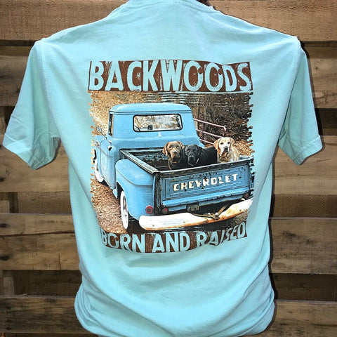 Backwoods Born & Raised Country Truck Lab Dogs Comfort Colors Unisex Bright T Shirt