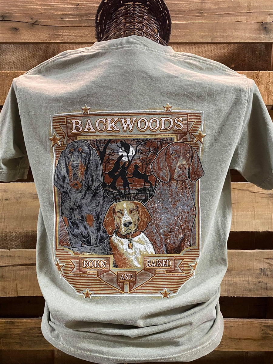 Backwoods Born & Raised Coon Dog Comfort Colors Bright Unisex T Shirt