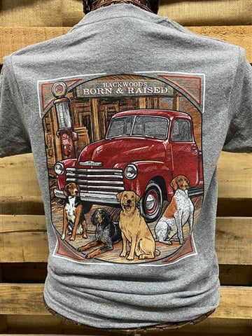 Backwoods Born & Raised Country Truck Lab Dogs Unisex Bright T Shirt
