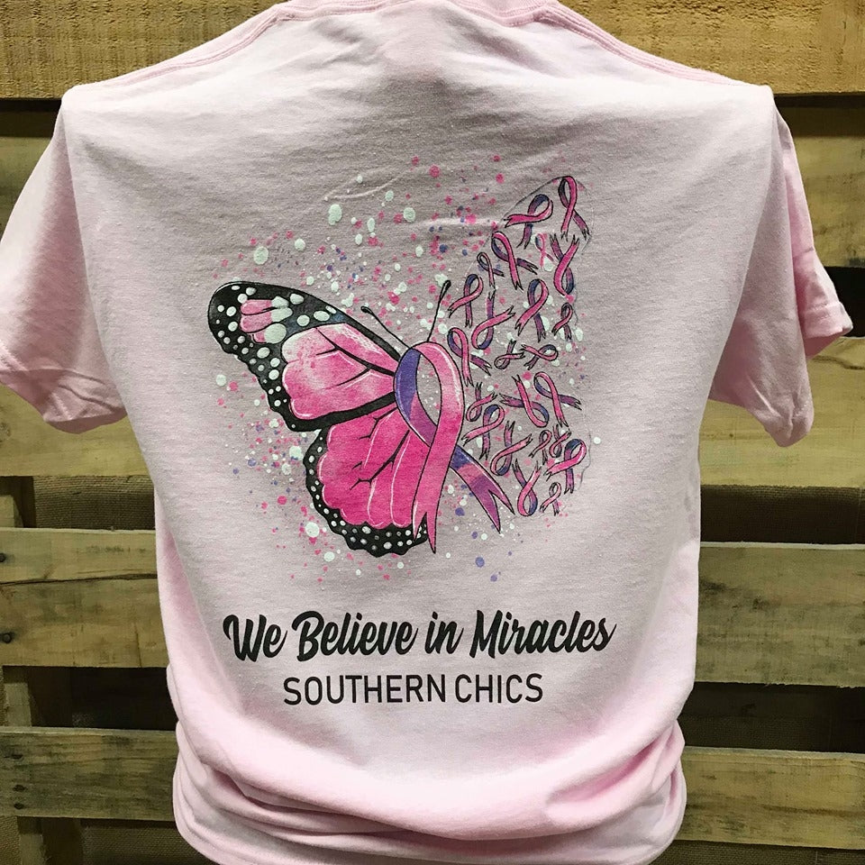 Butterfly Breast Cancer Youth T-Shirt Pink Ribbon Awareness