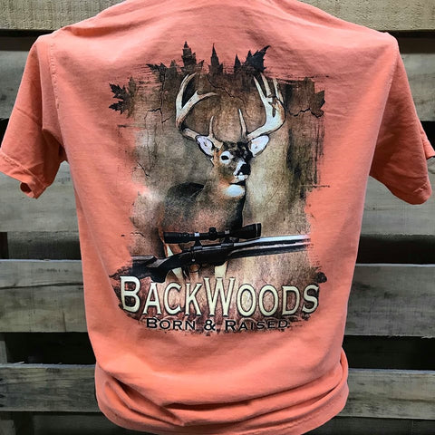 Backwoods Born & Raised Deer Rifle Gun Hunting Comfort Colors Unisex T Shirt