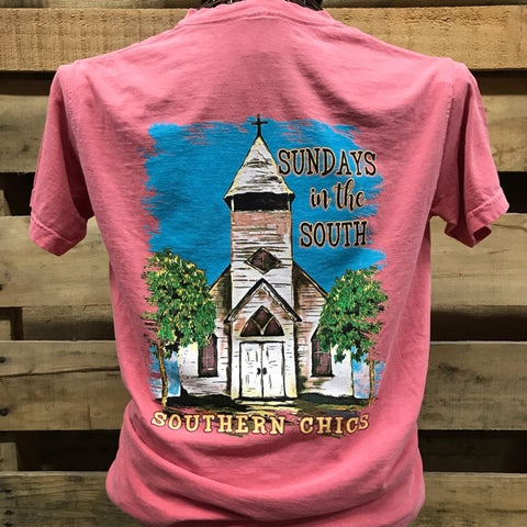 Southern Chics Sundays in the South Church Comfort Colors Christian Girlie Bright T Shirt