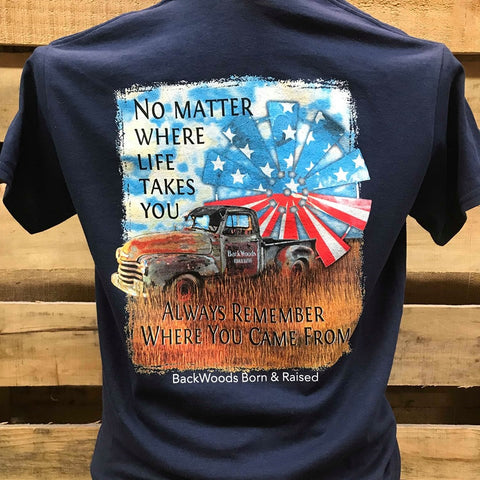 Backwoods Born & Raised Always Remember Where You Came From USA Flag Truck Unisex T Shirt