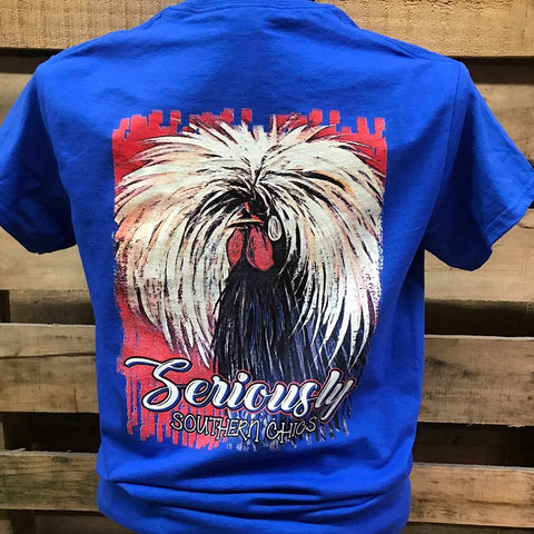 Southern Chics Seriously Crazy Hair Chicken Rooster Animal Girlie Bright T Shirt