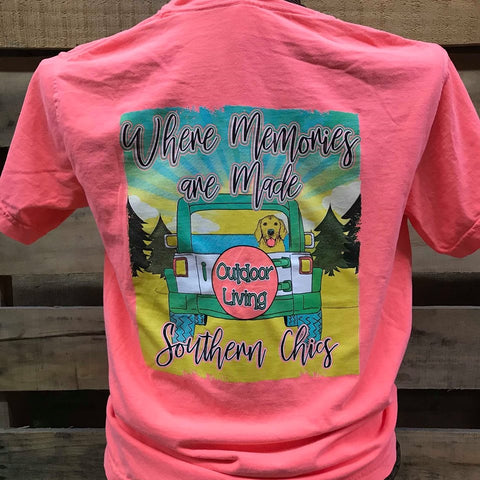 Southern Chics Memories are Made Outdoors Jeep Dog Girlie Comfort Colors Bright T Shirt