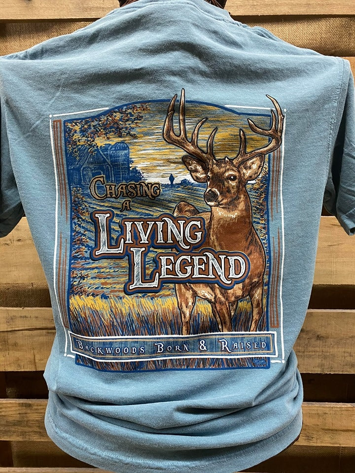 Backwoods Born & Raised Chasing a Living Legend Deer Hunting Comfort Colors Unisex T Shirt