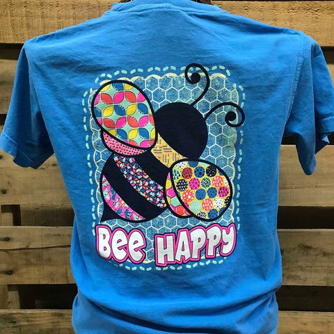 e570a65075 Southern Chics Bee Happy Girlie Bright T Shirt