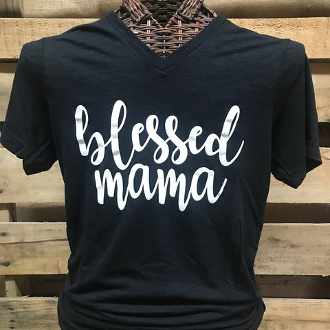 80679f1725ab Southern Chics Apparel Blessed Mama Mom V-Neck Canvas Girlie Bright T Shirt