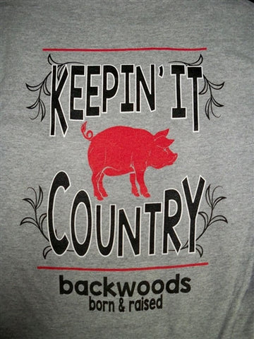 Backwoods Born & Raised Keeping it Country Pig Unisex Bright T Shirt - SimplyCuteTees