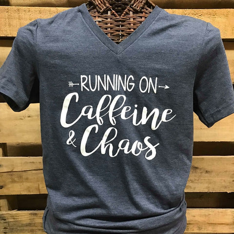 a40a01fa6d41 Southern Chics Apparel Running on Caffeine   Chaos Arrow Canvas Girlie  V-Neck Bright T