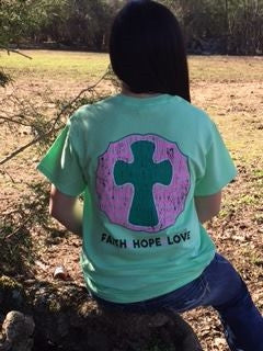 Southern Chics Sassy Classy Collection Preppy Cross Faith Hope Love Distressed Bright T Shirt