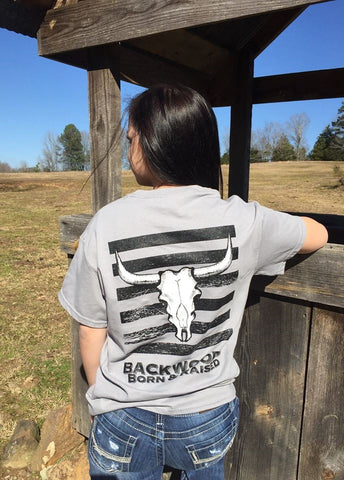 Backwoods Born & Raised Skull Horns Distressed Bright Unisex T Shirt - SimplyCuteTees