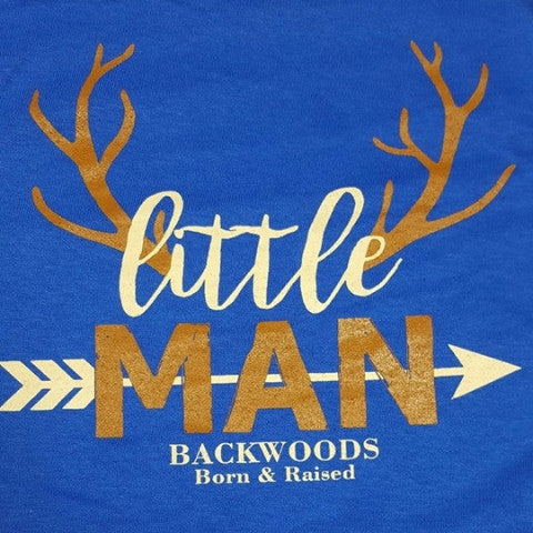Backwoods Born & Raised Lil Man Deer Arrow Bright Unisex Toddler Youth T Shirt - SimplyCuteTees