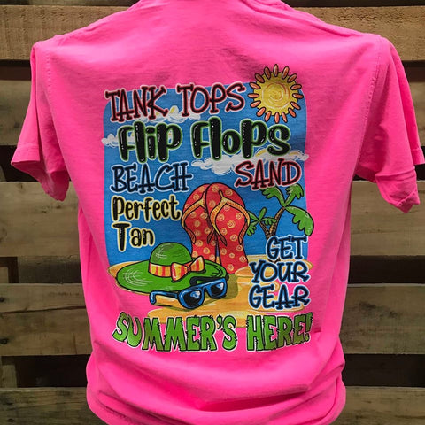 Southern Chics Summer's Here Tank Tops Flip Flops Beach Comfort Colors Girlie Bright T Shirt