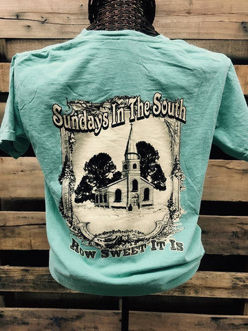 Southern Chics Comfort Colors Sundays in the South Church Girlie Bright T Shirt
