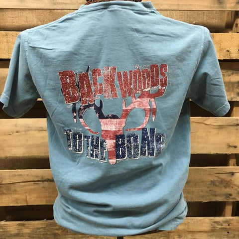 Backwoods to the Bone Deer Skull Born & Raised  Comfort Colors Bright Unisex T Shirt - SimplyCuteTees
