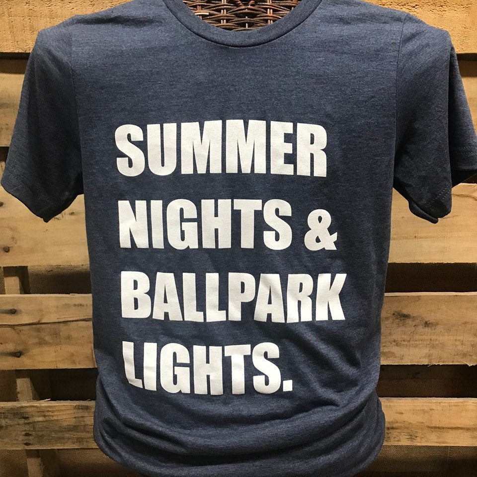 27902386c9ad Southern Chics Apparel Summer Nights   Ballpark Lights Baseball Softball  Canvas Girlie Bright T Shirt Sale. + ...