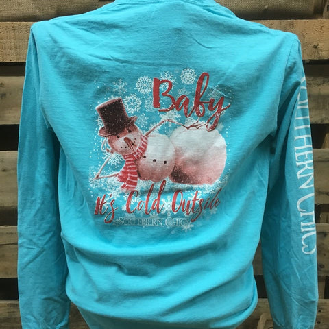 Southern Chics Baby Its Cold Outside Snowman Snowflakes Comfort Colors Long Sleeve Girlie Bright T Shirt