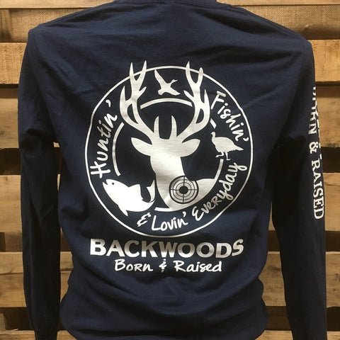 Backwoods Born & Raised Hunting Fishing & Loving Everyday Unisex Long Sleeve Bright T Shirt