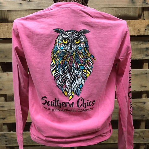 SALE Southern Chics Apparel  Owl Feathers Comfort Colors Long Sleeve Girlie Bright T Shirt