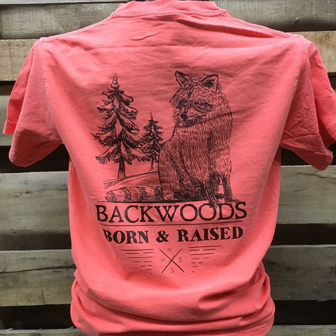 Backwoods Born & Raised Coon Racoon Comfort Colors Bright Unisex T Shirt - SimplyCuteTees