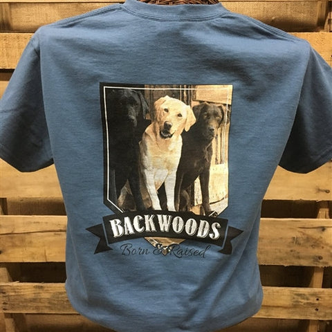 Backwoods Born & Raised Lab Dog Bright Unisex T Shirt - SimplyCuteTees