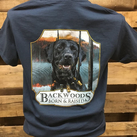 Backwoods Born & Raised Lab Dog with Duck Calls Bright Unisex T Shirt - SimplyCuteTees