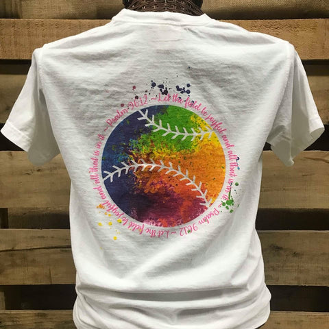 Southern Chics Let the Field Be Joyful Softball Baseball Watercolor Comfort Colors Bright T Shirt