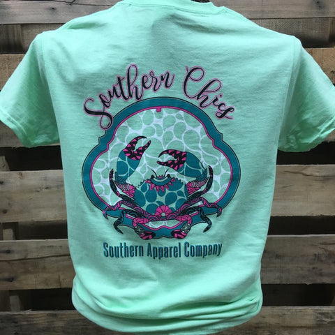 Southern Chics Preppy Crab Pattern Bright Girlie T Shirt