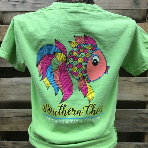 Southern Chics Preppy Fish Comfort Colors Bright Girlie T Shirt