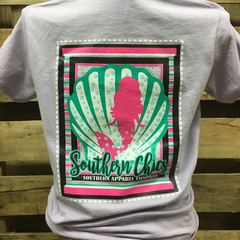 Southern Chics Shell Mermaid Bright Girlie T Shirt