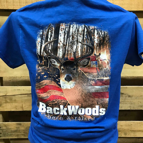 Backwoods USA American Flag Deer Buck Unisex T Shirt