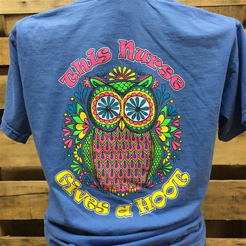 Southern Chics This Nurse Gives a Hoot Owl LPN RN Comfort Colors Girlie Bright T Shirt