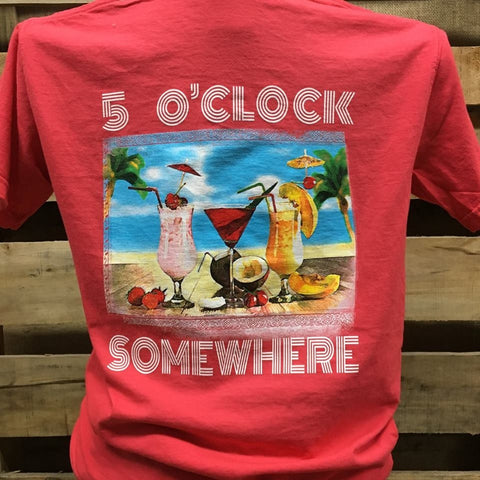 Southern Chics Apparel 5 O Clock Somewhere Drink Beach Comfort Colors Girlie Bright T Shirt