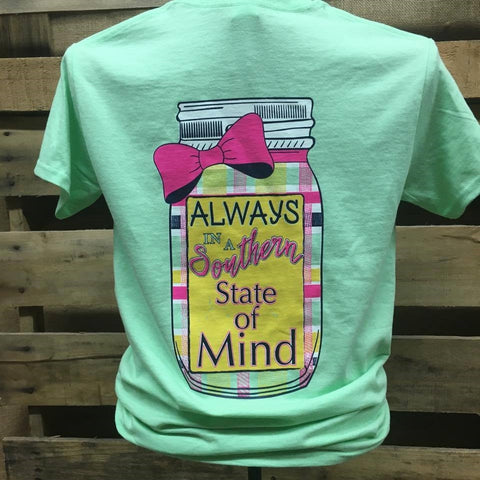 Southern Chics Apparel Always in a Southern State of Mind Mason Jar Bow Girlie Bright T Shirt