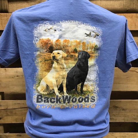 Backwoods Born & Raised Lab Dog Flying Ducks Comfort Colors Bright Unisex T Shirt - SimplyCuteTees