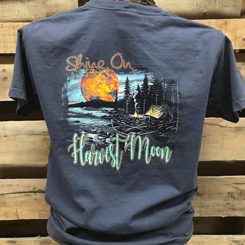 Backwoods Born & Raised Shine On Harvest Moon Fall Camp Comfort Colors Bright Unisex T Shirt - SimplyCuteTees
