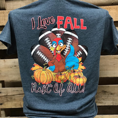 Southern Chics Apparel I Love Fall Most of All Turkey Halloween Football Girlie Bright T Shirt