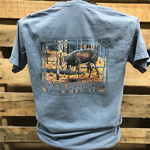Backwoods Born & Raised Deer Rut Country Comfort Colors Bright Unisex T Shirt - SimplyCuteTees