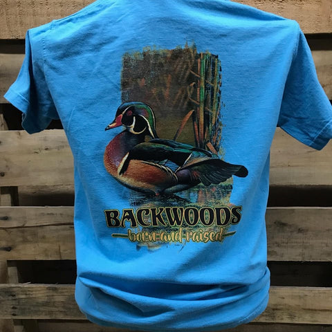 Backwoods Born & Raised Mallard Duck Country Comfort Colors Bright Unisex T Shirt - SimplyCuteTees