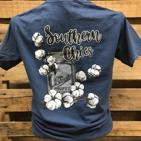Southern Chics Cotton Mason Jar Comfort Colors Bright Girlie T Shirt