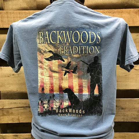 3837c4d780f70 Backwoods Traditions Duck Hunt Dog USA Flag Bright Comfort Colors Unisex T  Shirt