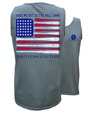 Southern Couture Out to the Ballgame Baseball Comfort Colors Tank Top