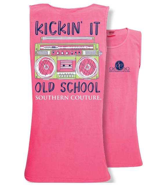 b67cfb93b Southern Couture Preppy Kickin It Old School Comfort Colors Tank Top |  SimplyCuteTees