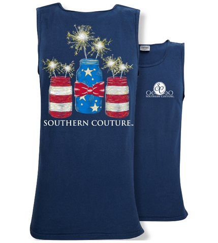 Southern Couture Preppy USA Mason Jars Comfort Colors Tank Top