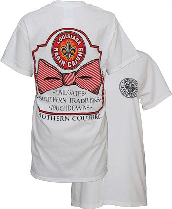 Southern Couture ULL Ragin Cajuns Classic Bow University of Louisana Lafayette Girlie Bright T Shirt - SimplyCuteTees