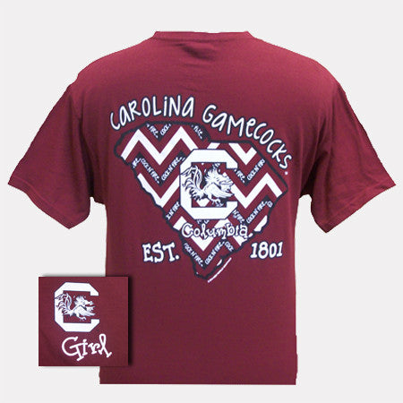 New South Carolina Gamecocks State Chevron EST. 1801 Girl Girlie Bright T Shirt