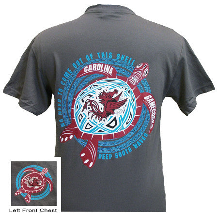New South Carolina Gamecocks Turtle Shell Wave Girlie Bright T Shirt