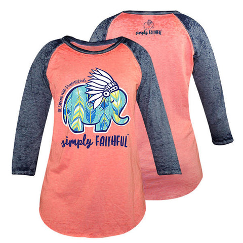 Simply Faithful By Simply Southern Elephant Feathers Long Sleeve T-Shirt