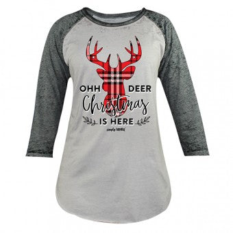 Simply Faithful By Simply Southern Oh Deer Christmas is Here Plaid Long Sleeve T-Shirt